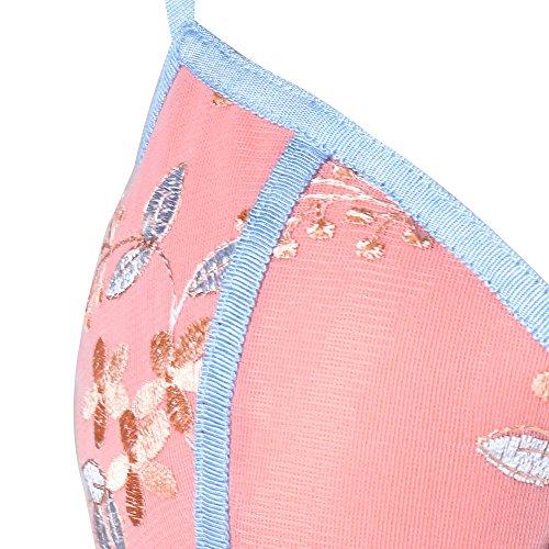 High Vintage Strap Hem Spaghetti Embroidery Dress Pink Women's Low Floral CharMma qYTnwxt77
