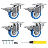 SPACECARE 4 Pack of 2'' Swivel Caster Blue Polyurethane Wheels Base with Brake Top Plate Double Ball