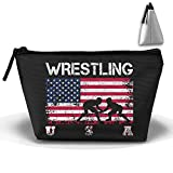 NYSOUVENIRS Wrestling American Flag Trapezoid Receive Bag Cosmetic Bag Home Office Travel Camping Sport Gym Outdoor