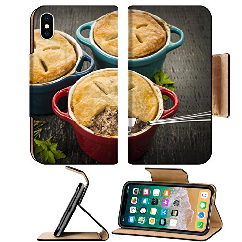 MSD Premium Apple iPhone X Flip Pu Leather Wallet Case IMAGE ID: 30187426 Three homemade gourmet meat pies with fork in ground beef filling on rustic wood (Beef Filling)