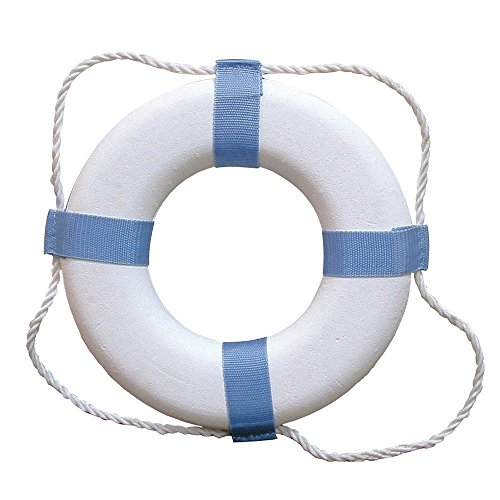 MyEasyShopping Decorative Ring Buoy - 17 - White/Blue - Not USCG Approved, Decorative Ring Buoy, Decorative Ring Buoy White Blue Not Uscg Approved by MyEasyShopping