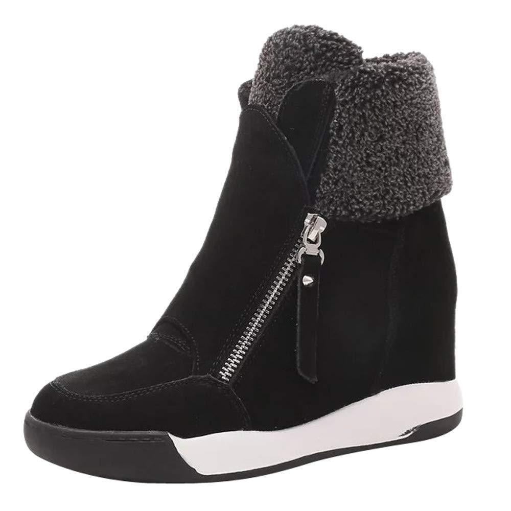 Botas Ankle Tacó n Cuñ a Altos para Mujer Otoñ o Invierno, Mujeres Cuñ as Zapatos De Felpa Muffin Zapatillas Zapatos Casuales De Gamuza Mantener Caliente Botas De Nieve