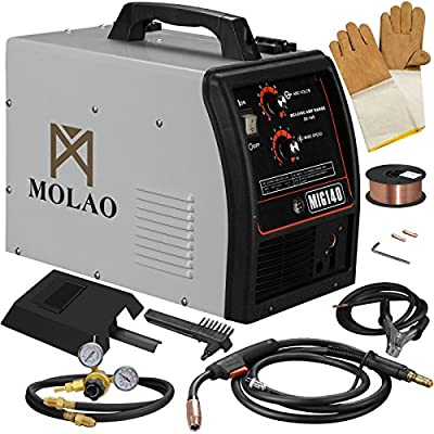 SUNCOO 140 MIG Welder Inverter DC Flux Core Wire Automatic Feed Professional Welding Machine 115 Volt with Gas Meter Free Mask Grey