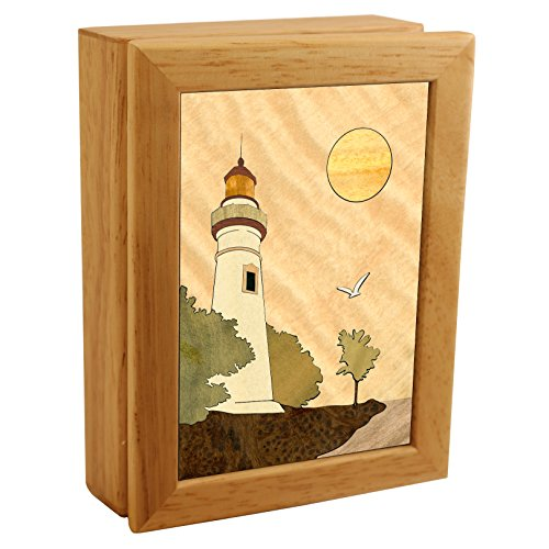 Wood Lighthouse Box - Handmade USA - Unmatched Quality - Unique, No Two are the Same - Original Work of Wood Art. A Lighthouse Gift, Ring, Trinket or Wood Jewelry Box (#4502 Lighthouse 4x5x1.5)