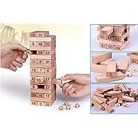 Akrobo Wooden Jenga Blocks 4 Dices Tumbling Stacking, (Multicolour)Pack of 51