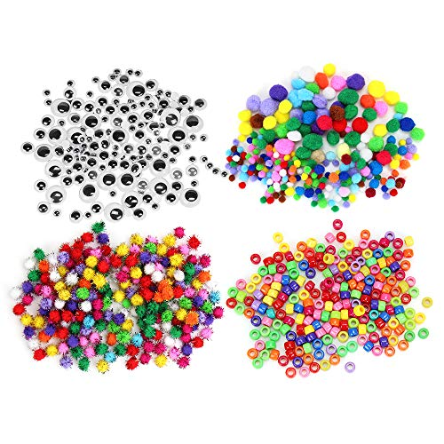 N&T NIETING 850 Pieces Assorted Pom Poms with Multicolor Pom Pom Balls Art Crafts, Glitter Pompoms, Pony Beads, 3 Size Wiggle Googly Eyes for DIY Creative Decorations (850Pcs) ()
