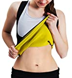 Roseate Women's Body Shaper Hot Sweat Workout Tank Top Slimming Vest Tummy Fat Burner Neoprene Shapewear for Weight Loss, No Zipper, Black/Yellow M