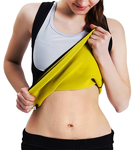 Roseate Women's Body Shaper Hot Sweat Workout Tank Top Slimming Vest Tummy Fat Burner Neoprene Shapewear for Weight Loss, No Zipper, Black/Yellow S ()
