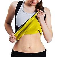 Roseate Women's Body Shaper Hot Sweat Workout Tank Top Slimming Vest Tummy Fat Burner Neoprene Shapewear for Weight Loss, No Zipper, Black/Yellow