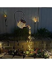 Luminária de chuveiro de ferro, luz de LED para jardim solar inovadora decoração ao ar livre com regador, fio de cobre de fada à prova d'água para pátio, quintal, jardim e gramado