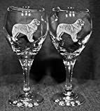 Leonberger Dog Laser Etched Wine Glass Set (2, TDW)