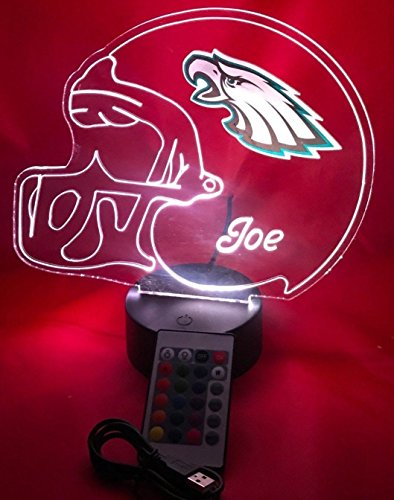 Philadelphia Eagles NFL Light Up Lamp LED Personalized Football Helmet Light Up Lamp LED Table Lamp, Our Newest Feature - It's Wow, with Remote, 16 Color Options, Dimmer, Free Engraved, Great Gift ()