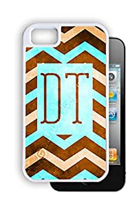 Blue Chevron with Square Monogram - White iPhone 4, 4s Dual Protective Case