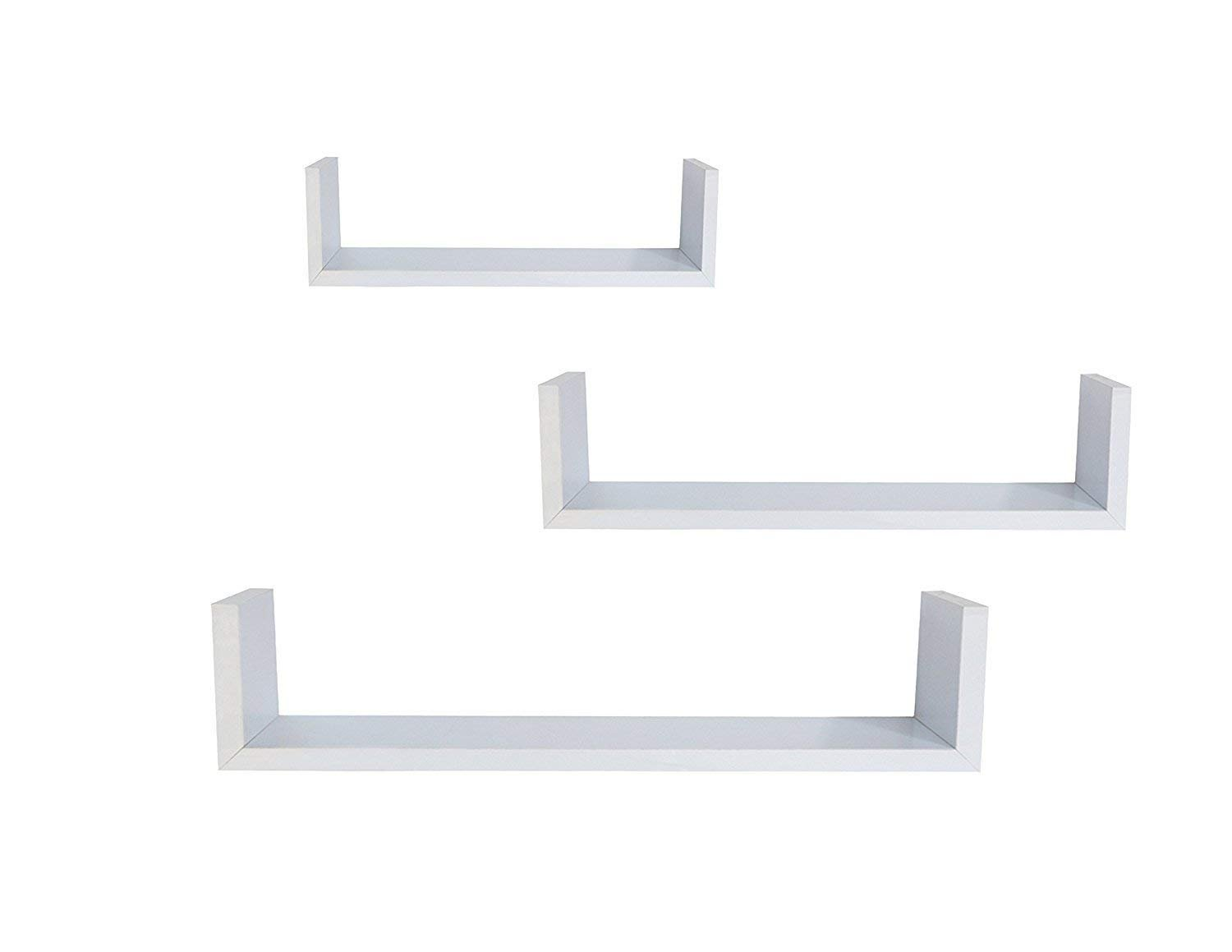 EWEI'S HomeWares WHC1004CD-WH 3 Floating U Shelves-White by EWEI'S HomeWares