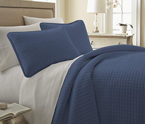 Southshore Fine Linens - Vilano Springs - 2 Piece Oversized Quilt Sets (Twin Extra-Long, Dark Blue) - Extra Fine Linen