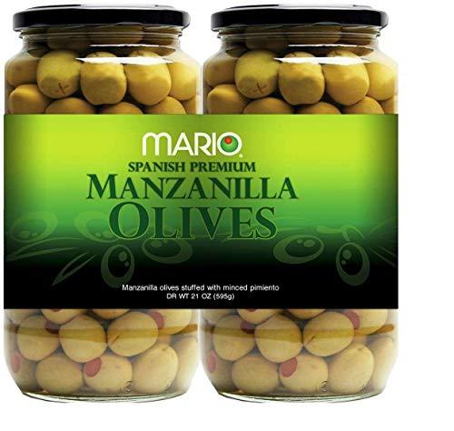 Olives Pimiento Stuffed (Mario Manzanilla Spanish Olives - 2/21 oz. jars)