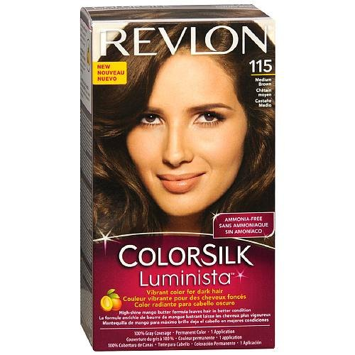 Revlon ColorSilk Luminista Vibrant Color for Dark Hair, Medium Brown 115 (Pack of 3)