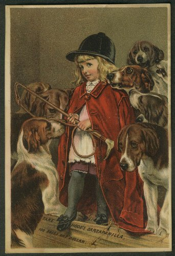 Trade Card Hoods - Hood's Sarsaparilla trade card 1880s girl riding crop with hunting hounds