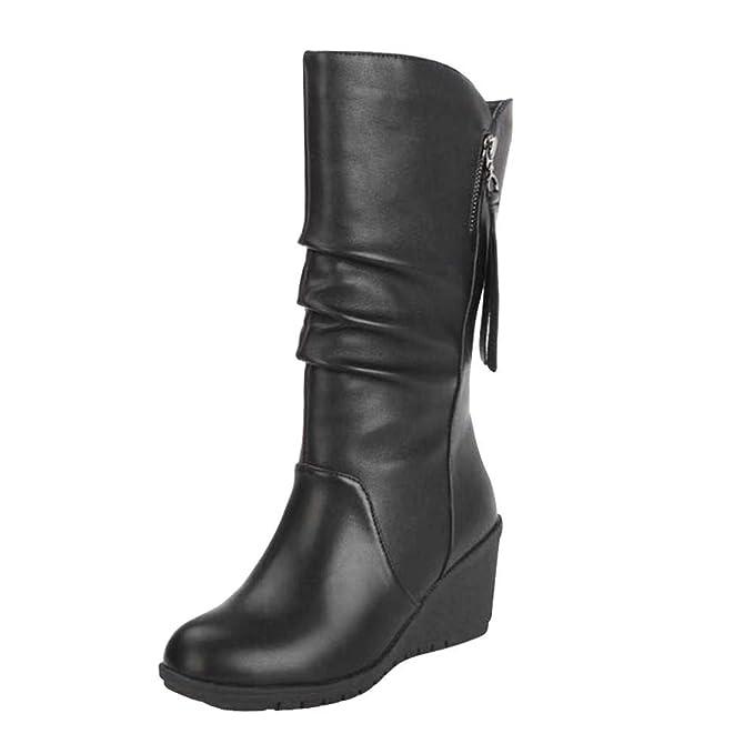 POLP Botas Botas Mujer Invierno Botines y Botas Altas Mujer Botas Altas cuña Botas Altas Mujer Botas de cuña Botines Altos Zapatos Mujer para Lluvia Botas ...