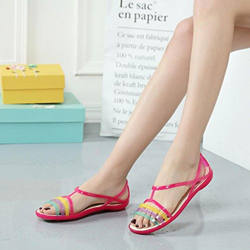 Zapatos antideslizantes Zapatillas tacón de las verano GAOLIXIA jalea mujeres roja huecas Zapatos Sandalias de Rosa de Sandalias de dulces qWn8zW4P