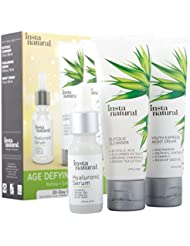 Age Defying Skin Trio Bundle - Glycolic Cleanser, Hyaluronic Acid Serum, Night Cream Regimen - Reduce Wrinkles and Fine Lines with an Organic Blend of Extracts, Arginine, and Vitamin C - InstaNatural