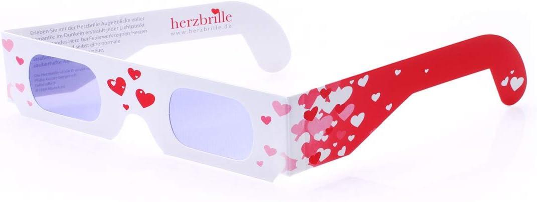 - Aufsetzen und Herzen sehen Ideal f/ür Ihre Hochzeit als Geschenk oder Mitgebsel Die Herzbrille Schw/ärmerei 5 St/ück 3D-Brillen mit Herzeffekt