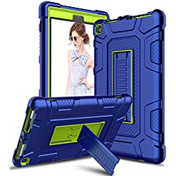 Venoro Case for All-New Amazon Fire HD 8 Tablet, Shockproof Armor Defender Protective Case Cover with Kickstand for Fire HD 8 Tablet (7th Generation - 2017 Release Only) (Navy Blue/Lemon Yellow)
