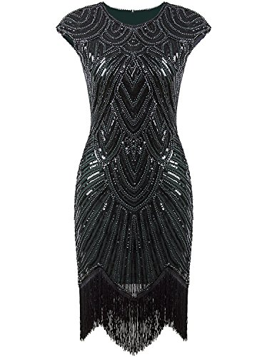 Vijiv Art Deco Great Gatsby Inspired Tassel Beaded 1920s Flapper Dress,Medium,Dark Green