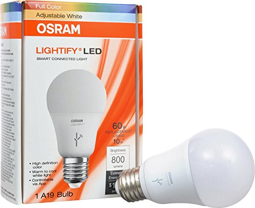 SYLVANIA-SMART-OnOffDim-LED-Light-Bulb-60W-Equivalent-A19-10-Year-Works-with-Amazon-Alexa-SmartThings-and-Wink-74283-Formerly-LIGHTIFY