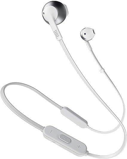 JBL TUNE 205BT – Écouteurs sans fil Bluetooth – Avec microphone intégré et télécommande à 3 boutons – Autonomie jusqu'à 6 hrs – Argent