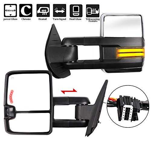ECCPP Towing Mirrors, Pair of Chrome Exterior Automotive Mirrors fit for 2008-2013 Chevy Silverado GMC Sierra with Dynamic Running Lights Arrow Signal Reversing Clearance Lights Power Operation Heated