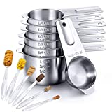 Stainless Steel Measuring Cups and Spoons Set of 13 Pieces, Includes 7 PCS Measuring Cups and 6 PCS Measuring Spoons by Umite Chef, for Dry and Liquid Ingredients Cooking, Rust-Resistance