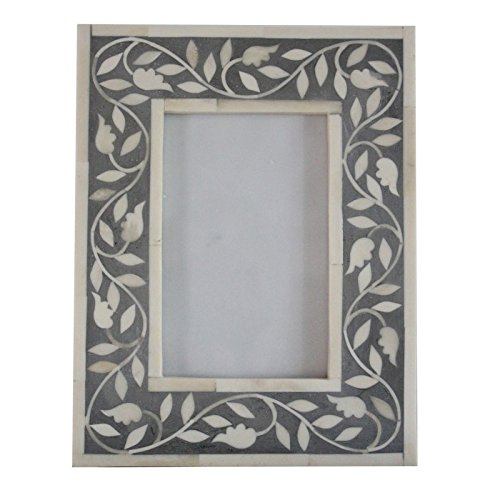 Black Mother of Pearl Photo Frame 4x6 Handmade Inlay Furniture by Antique Rustic