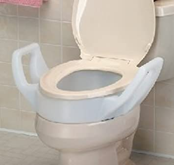 Raised Toilet Seat Riser with Arms fit Inbetween Toilet Bowl and Toilet Seat. Amazon com  Raised Toilet Seat Riser with Arms fit Inbetween