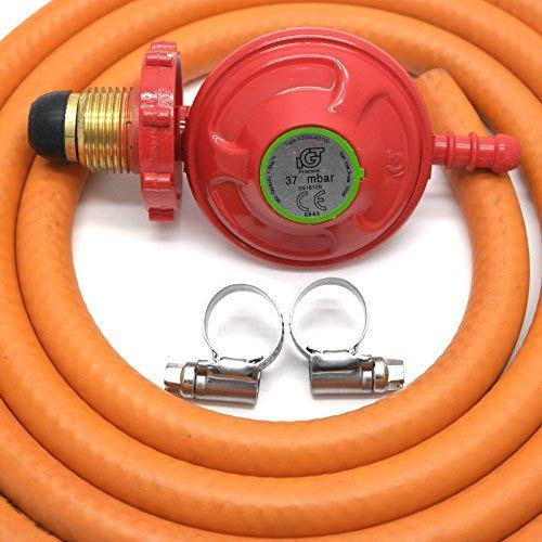 Handwheel 37Mbar Propane Gas Regulator & 2 Metre Hose & 2 Clips 5 Year Warranty