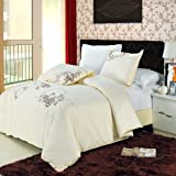Luxurious 8 Piece Cal King Size Sophia Embroidered BED IN A BAG Set. IncludesDuvet CoverSet + 100% Egyptian Cotton Bed Sheet Set + DownAlternativeComforter