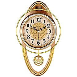 MGE UPS Systems Clock Wall Clock,Clock Clock European Retro Wall Clock Decoration Ornaments Living Room Bedroom Simple Fashion Silent Clock Quartz Clock Modern (Color : Gold Color)