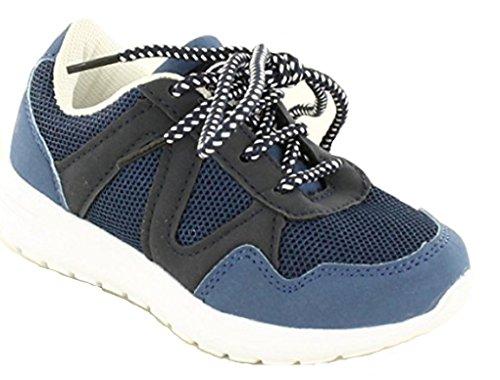 Koo-T - Zapatillas de malla para niño azul marino