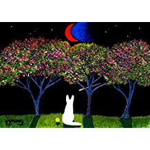 WHITE German Shepherd Dog LARGE Art PRINT by Todd Young CHERRY BLOSSOMS