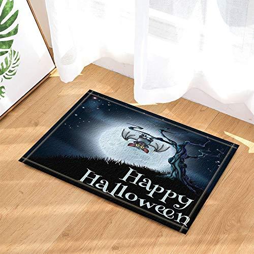 Halloween Decor Bats Upside Down on The Branches Against Full Moon Bath Rugs Non-Slip Doormat Indoor -