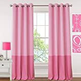 Elrene Home Fashions Kids Madeline Room Darkening Color Blocked Solid with Silver Grommets Window Panel 52-Inch by 84-Inch, Pink, Set of 2