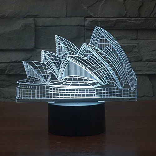 3D Illusion Lamp Gawell Night Light Sydney Opera House 7 Changing Colors Touch USB Table Nice Gift Toys Decorations