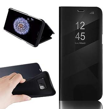 Boshanda Funda Samsung S8 Case Clear View Standing Cover, Flip Cover Carcasa para Samsung Galaxy S8 Soporte Plegable, Cierre Magnético Negro