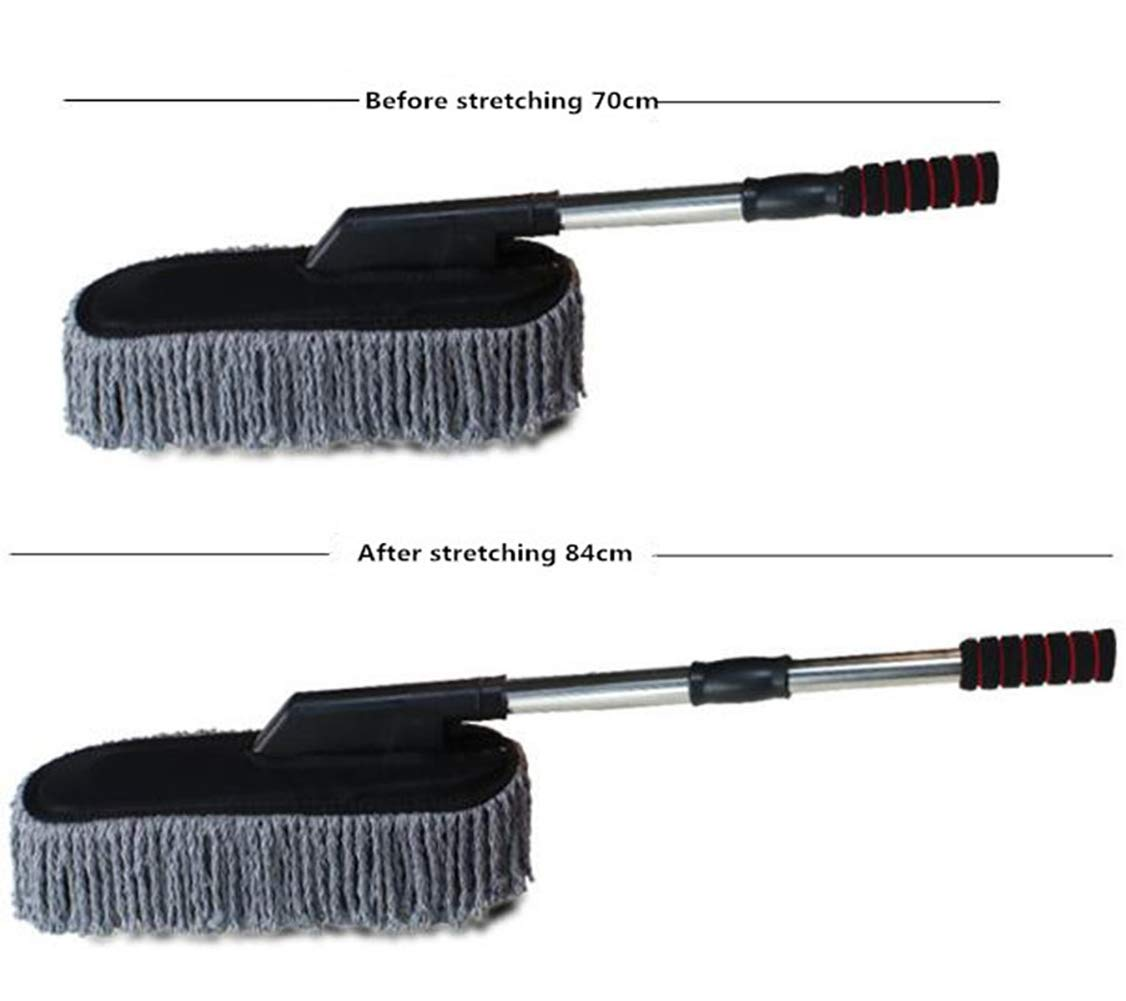 Lupure Car Big Duster Wash Brush, Long Retractable/Soft/Non-Slip/Handle to Trap Dust and Pollen Microfiber Exterior Interior Wash Cleaner Brush,Grey by Lupure (Image #2)