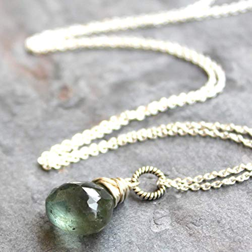 Artisan Crafted Sterling Gemstone - Moss Aqua Necklace Sterling Silver Focal