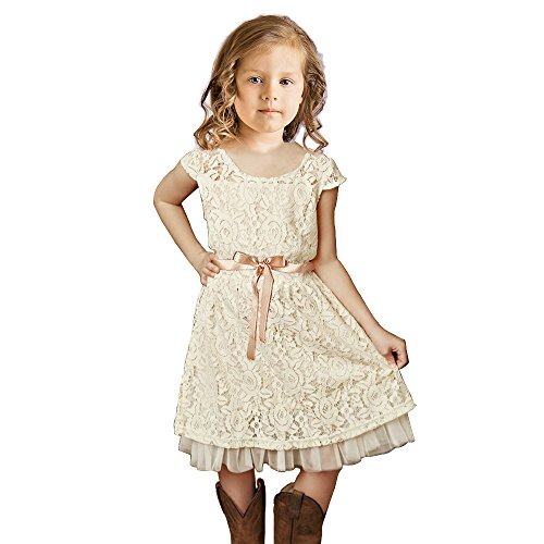 Topmaker Flower Girl Dress, Rustic Girl Dress (7 Years, Ivory) (Girl Lace Dress Flower)