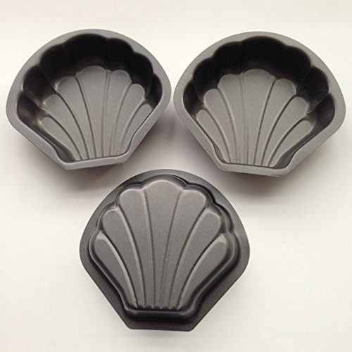Yunko 3 Pack Nonstick Mini Pie Pans 5.1 inch Tarts,Tartlets,Cupcakes,Pies,Cheesecakes,Bread,Jelly,Pudding Mold Seashells