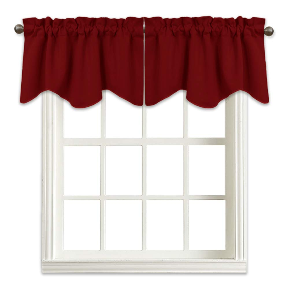 NICETOWN Burgundy Blackout Scalloped Valance - Elegant 52 inches by 18 inches Blackout Tier Valance Curtain for Living Room Decor on Christmas & Thanksgiving Day (Burgundy Red, 1 Pack)