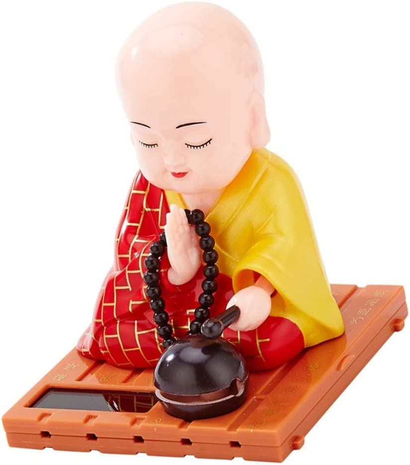 FAVOMOTO Little Monk Figurine Solar Head Toys Funny Car Shaking Head Toy Chinese Little Buddha Monk Statue Car Dashboard Ornament Home Decorations