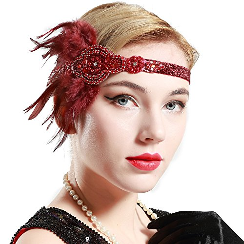 BABEYOND 1920s Flapper Headband 20s Great Gatsby Headpiece Black Feather Headband 1920s Flapper Gatsby Hair Accessories with Crystal (Wine Red)